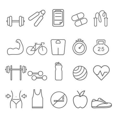 women smoking: set of fitness icons