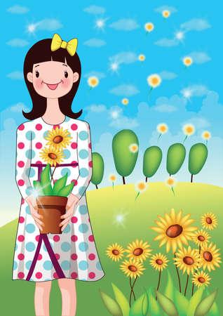 girl holding flower: girl holding flower pot Illustration