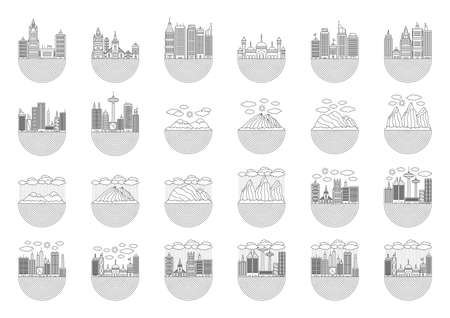 is outlined: outlined buildings and landscapes