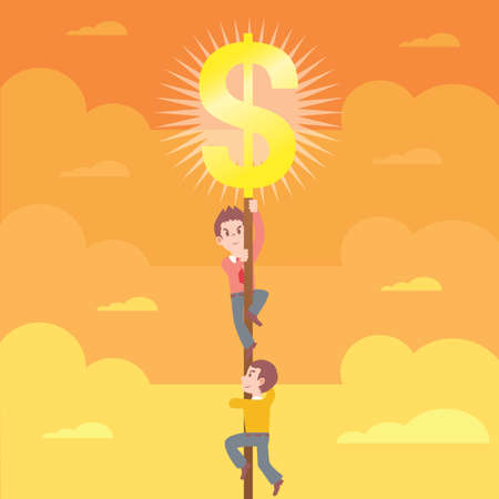 sign pole: man climbing up a dollar sign pole