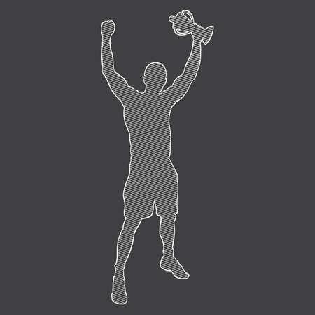sportsman: silhouette of a sportsman holding a trophy Illustration