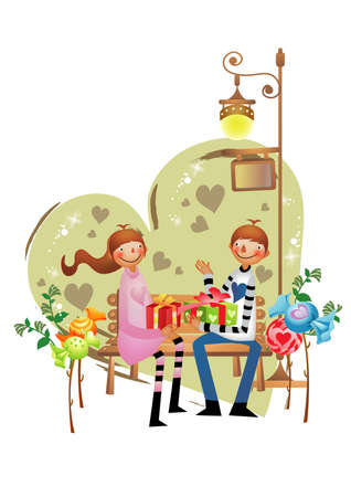 exchanging: couple exchanging gifts Illustration