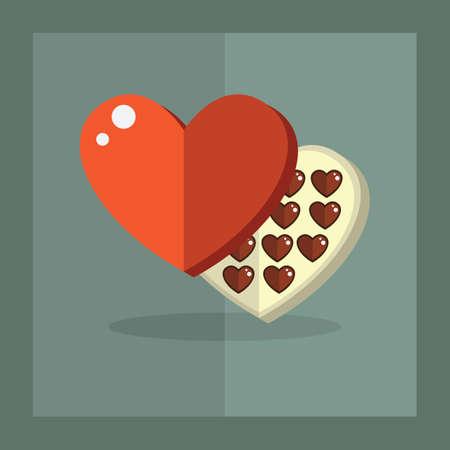 heart shaped: heart shaped chocolate box Illustration