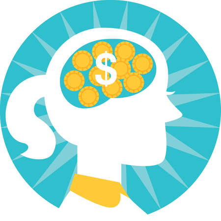 contemplate: woman thinking of dollar coins