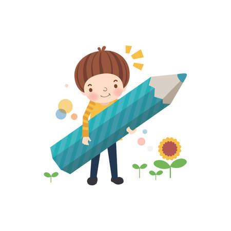 scuola ragazzo in possesso di una matita