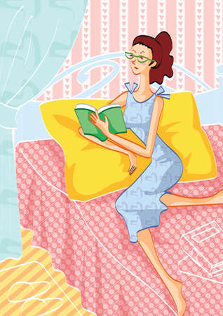 woman reading book: woman reading book on bed