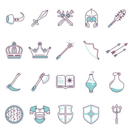 poison arrow: set of fantasy icons