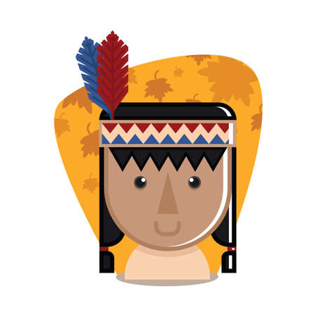pilgrim costume: native american indian woman Illustration