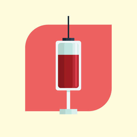 an injection needle: syringe with blood