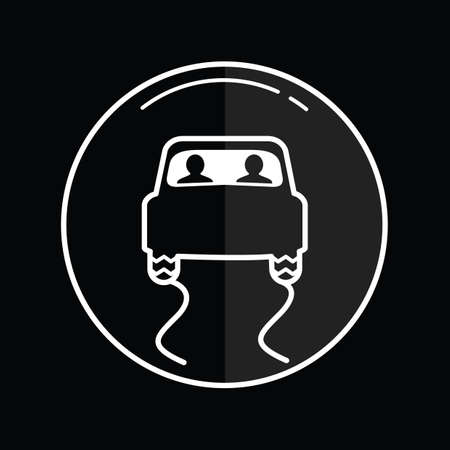 slippery road icon Illustration