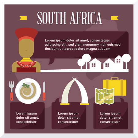 tusk: south africa travel infographic Illustration
