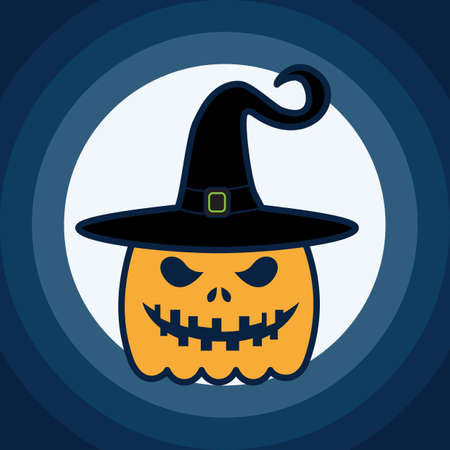 haunting: carved pumpkin face wearing a witchs hat