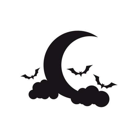 flying bats: moon with flying bats Illustration