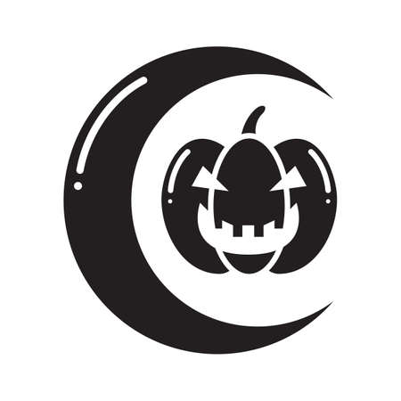haunting: crescent and a carved pumpkin Illustration