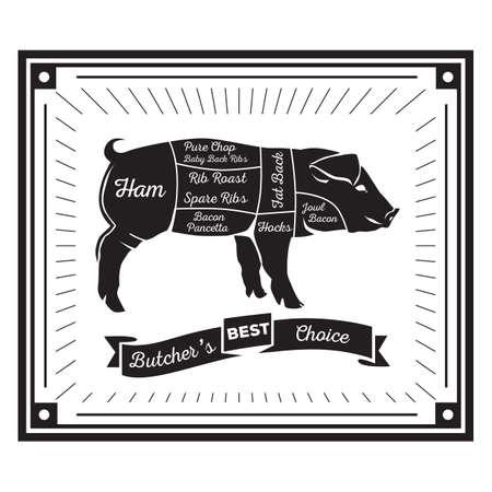 spare ribs: butcher pig cuts diagram Illustration