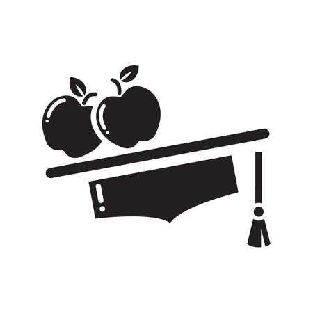 mortarboard: mortarboard with apples Illustration