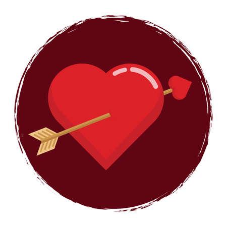 pierced: heart pierced with an arrow Illustration