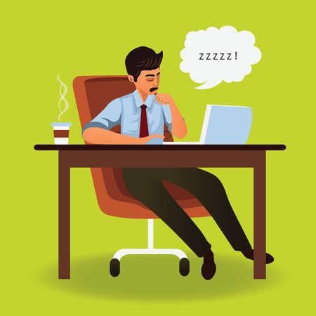 snoring: businessman sleeping Illustration