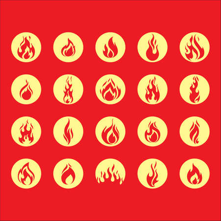 fire flame: set of fire flame icons