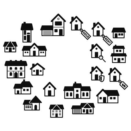 homes: set of homes icons Illustration
