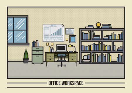 plant stand: office workspace Illustration