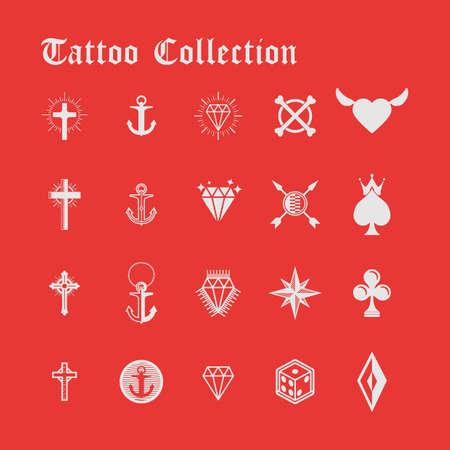 colección de tatuajes Ilustración de vector