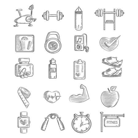 weight loss plan: set of fitness icons