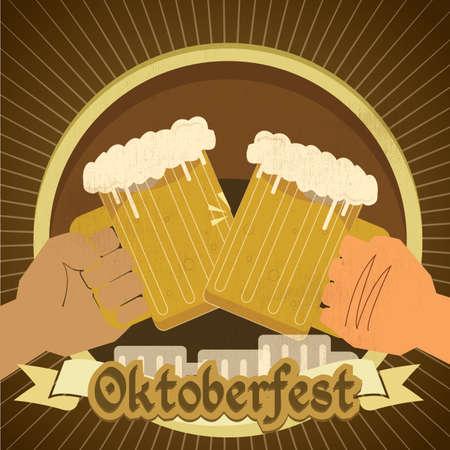 oktoberfest background: oktoberfest background with beer Illustration