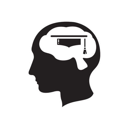 contemplate: human brain with mortar board