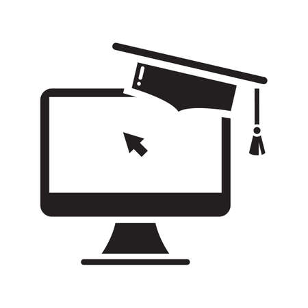 mortarboard: mortarboard on a computer monitor Illustration