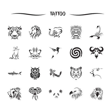 snake head fish: animal tattoo set