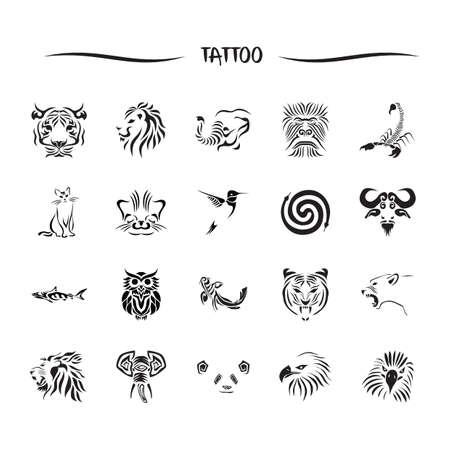 tatouage oiseau: animaux tatouage ensemble