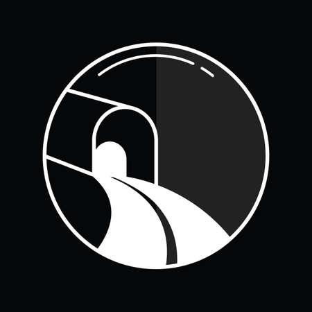 perspectiva lineal: icono t�nel del tren