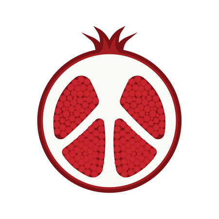 half: pomegranate fruit cut into half
