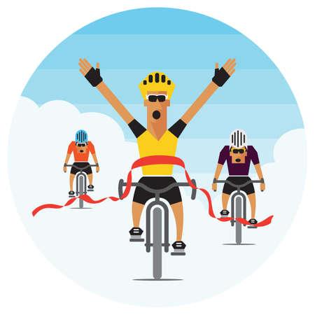 race winner: bicycle race winner crossing the finish line