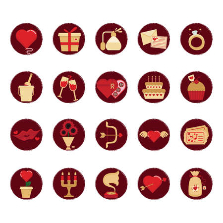 diamond candle: set of valentines day icons