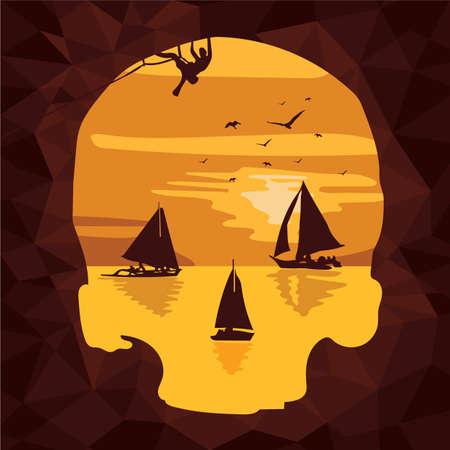 rock climber: sailing boats and a rock climber