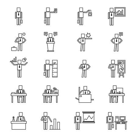 adjusting: businessman with different activities