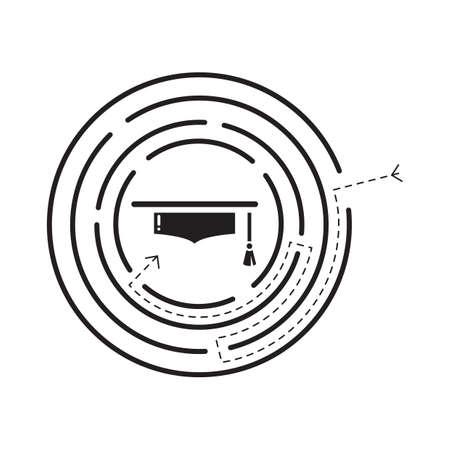 mortarboard: mortarboard in a maze Illustration