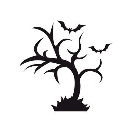 Fledermäuse über einen kahlen Baum fliegen