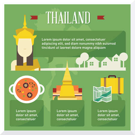 wat: thailand travel infographic Illustration