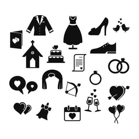 wedding: set of wedding icons Illustration