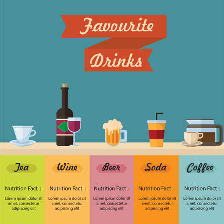 favourite: favourite drinks infographic Illustration