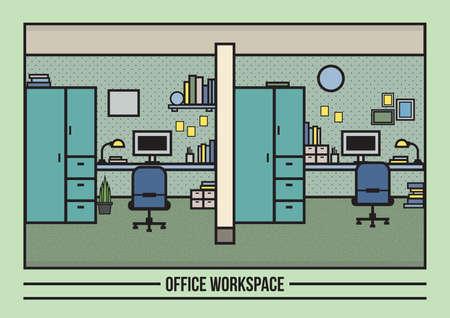cupboards: office workspace Illustration