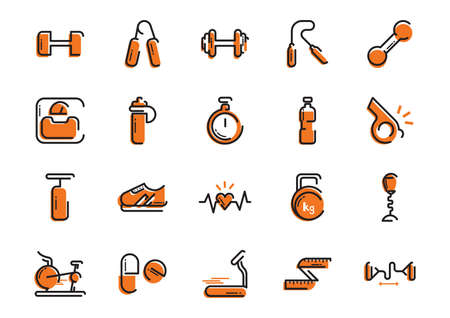 hand gripper: set of fitness icons