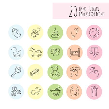twenty: twenty hand-drawn baby icons