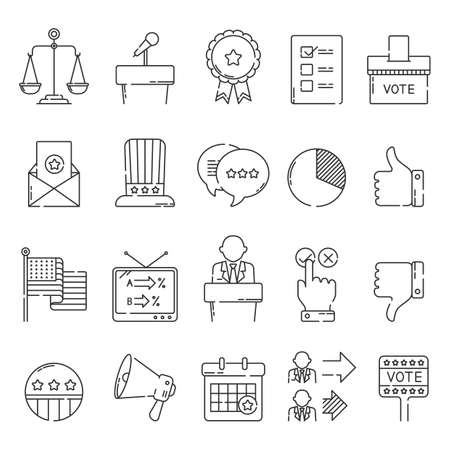 collection of usa election icons 向量圖像