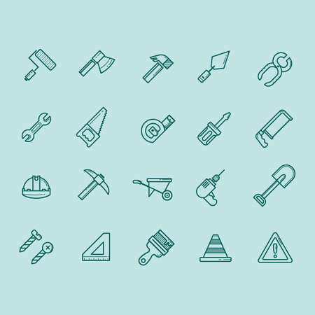 warning saw: collection of construction icons