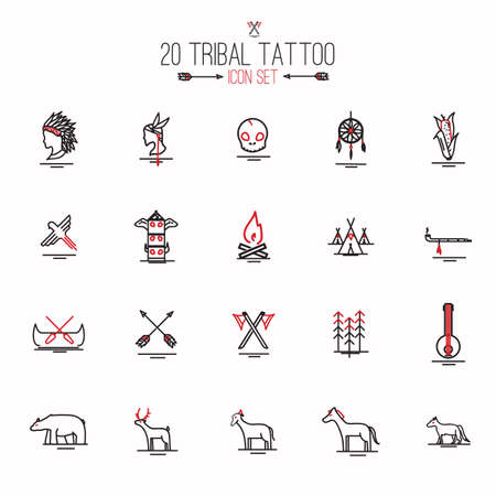 horse pipes: tribal tattoo set Illustration