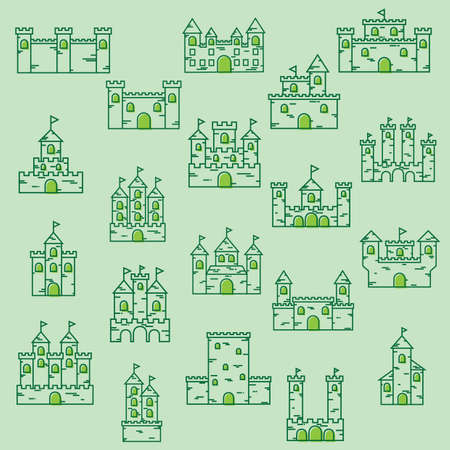 fortresses: set of castle icons Illustration
